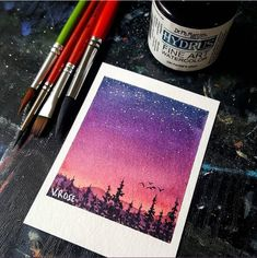 Cute Canvas Paintings, Small Canvas Art, Mini Canvas Art, Watercolor Galaxy, Watercolor Artwork, Watercolour, Aesthetic Painting, Aesthetic Art, Cool Art Drawings
