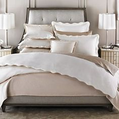 Barbara Barry Dream Peaceful Pique KING Duvet Cover + 2 shams in Moonglow #BarbaraBarry