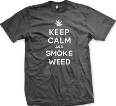 Keep Calm and Smoke Weed Mens T-shirt Funny Pot Smoking Keep Calm Marijuana Leaf Design Mens Tee (Charcoal Medium)