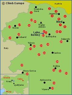 Map of the rock climbing areas around Bled, Lake Bohinj and western Slovenia