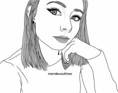 sorry for being so inactive :(((((( Tumblr Girl Drawing, Girl Drawing Sketches, Girl Sketch, Outline Drawings, Pencil Art Drawings, Cute Drawings, Girl Tumbler, Dancing Sketch, Tumbler Drawings