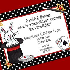 Magic Party Invitation, Printable Invitation Design, Custom Wording, JPEG File. $10.00, via Etsy.