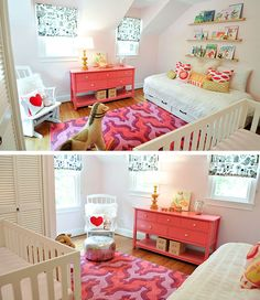 Aimee Wilder rug adds all the right colors in this white nursery.
