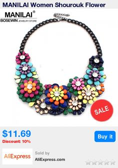 MANILAI Women Shourouk Flower Choker Resin Rhinestone Collares Statement Necklaces Fashion Accessories Vintage Jewelry For Dress * Pub Date: 13:23 Jun 25 2017