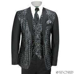 Mens Black Shiny Geometric 3D Print 3 Piece Suit Slim Fit Wedding Party Funky