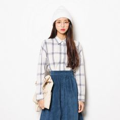 Casual style blue and white checked shirt with long sleeve sold by Chowmii. Shop…