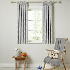 Buy little home at John Lewis Star Pencil Pleat Blackout Lined Curtains Online at johnlewis.com Lined Curtains, Yellow Curtains, Curtains With Blinds, Blackout Curtains, Girls Bedroom Curtains, Bedroom Blinds, Nursery Curtains, John Lewis Curtains, Childrens Curtains