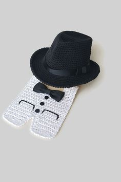 Newborn Fedora Hat and Tuxedo Bib Halloween Costume Baby Photo Props Baby Boy Shower Gift Crochet Cotton Hats Baby Black Fedora Cute Hats by Mila Newborn Fedora Hat and Tuxedo Bib crocheted with 100% cotton yarn. Black Fedora hat decorated with hatband and bow made from satin ribbon just