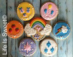 Facebook.com/lifeissweetcookie. My Little Pony 4th birthday cookies