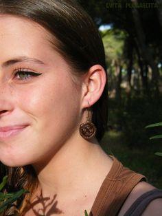 Botanical jewelry, eucalyptus globulus earrings by Evita Pulgarcita, exclusive design