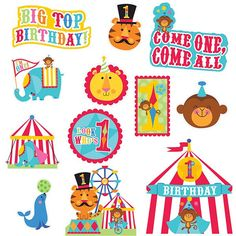 Perfect decorations for a circus themed 1st birthday party. The Fisher Price Circus 1st Birthday  Cut Out Decorations feature brightly colored lions, tigers, hot air balloons and all of the other thin