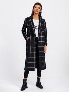 Drape Collar Grid Longline Coat | SHEIN