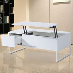 HOMCOM Foldable Wood Lift Top coffee Table Convertible Tea Desk Furniture with 2 Storage Drawer Tray White