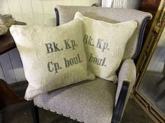 Pillows Made From Old Grain Sacks   $55 each  Parkhouse Antiques  114 Parkhouse  Dallas, TX 75207  Call for appointment.  Like us on Facebook: https://www.facebook.com/pages/Parkhouse-Antiqu