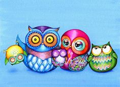 Love this! now I've found the artist :) Owl Family Portrait  Funny Family Photo  NEW Owl by AnnyaKaiArt