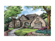 French Country House Plan with 3047 Square Feet and 4 Bedrooms(s) from Dream Home Source | House Plan Code DHSW69180