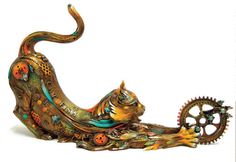 steampunk cat art | Steampunk sculptures of animals with exposed carved machinery