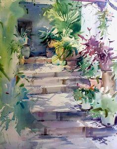 by Blanca Alvarez Watercolor Sketch, Watercolour Painting, Watercolor Flowers, Watercolors, Painting Inspiration, Art Inspo, Greece Painting, Urban Sketching, Parcs