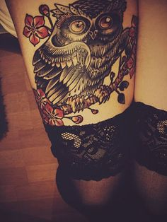 owl thigh tattoo - Click image to find more tattoos Pinterest pins