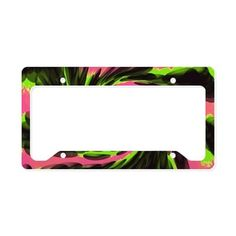 Colorful License Plate holder pink green black abstract #cafepress #automobile #accessories