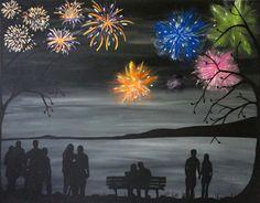 Romantic art Original Acrylic painting Forever by RachelOlynukArt Fireworks Art, Canvas Painting Tutorials, Wine And Canvas, Romantic Paintings, Silhouette Painting, Ecole Art, Funky Art, Nautical Art, Soul Art