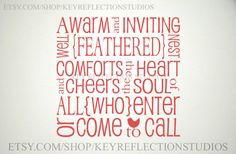 Warm and Inviting Home wall decal $15.00 USD