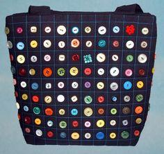 "Button Handbag tote £22.50  Measurements 11.5"" (30cm) wide  10"" (25cm) high  2"" (5cm) deep  Handles 29.5"" (75cm) Each bag is a one off design so you can be sure of a truly unique item."