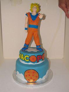 #Dragonball #cake con #topper di #Goku in #pasta di #zucchero ( #pdz )