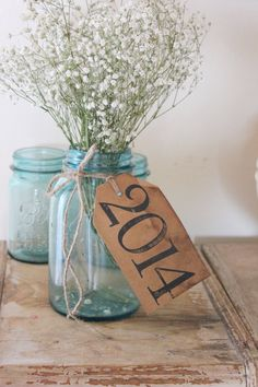 antiqued graduation party decor . class of 2014 . rustic table tags by montanasnow, $2.00