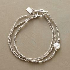 Pearls In The Stream Bracelet: A luminous freshwater pearl punctuates a rippling rivulet of triple-strand sterling silver beads strung in three different beading arrangements. Pandora Jewelry, Pearl Jewelry, Beaded Jewelry, Silver Jewelry, Silver Ring, Silver Earrings, Gold Jewellery, Glass Jewelry, Boho Jewelry