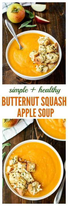 A simple healthy recipe for Butternut Squash Apple soup that's filled with wonderful flavor and freezer friendly too!