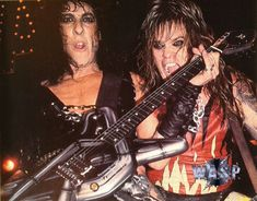 Randy Piper and Chris Holmes in W.A.S.P. #RandyPiper #ChrisHolmes #wasp Wasp, Hard Rock, Heavy Metal, Rocks, Bands, Wonder Woman, Passion, Singer, Club