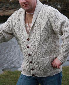 Men's Hand Knitted Aran Cardigan XS,S,M,L,XL,XXL jacket Hand Knit sweater 51 #Handmade #Cardigan