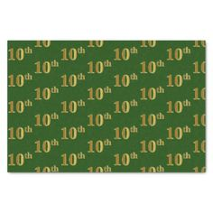 Green Faux Gold 10th (Tenth) Event Tissue Paper - gold gifts golden customize diy