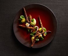 Galleries – The Art of Plating. Tierra Farm salsify, sorrel, almond, and bergamot by chef Michael Tusk. (photo by Maren Caruso)