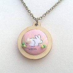 Meet The Maker /  Hope The Black Dog / Bunny pendant jewellery in mini embroidery hoop, antique bronze colour 32/18 inch chain mental health awareness beaded rabbit girly bun OOAK