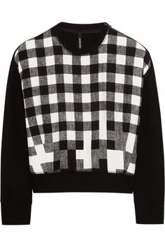Neil Barrett|Cotton-blend and checked satin sweatshirt|NET-A-PORTER.COM