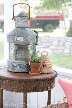 Galvanized Lantern by Finding Home Farms Vintage Decor and Refurbished Finds