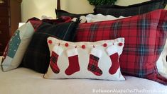 Decorate your home for Christmas with fun, whimsical Christmas pillows! Christmas Bedroom, Christmas Pillow, Christmas Home, Christmas Cushions To Make, Christmas Sewing Projects, Christmas Crafts, Christmas Decorations, Sewing Pillows, Diy Pillows