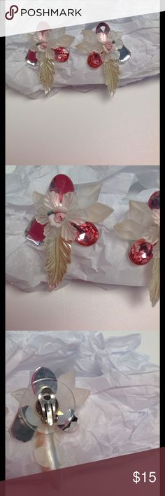 Summer flowery. Earrings clip on Craft earrings with plastic stones Jewelry Earrings