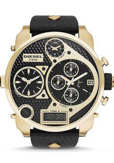 c28dab43a67 Diesel DZ7323 Mr. Daddy XL SBA Black Gold Black Leather Watch