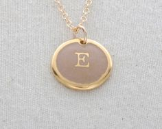 E Initial Necklace Glass Enamel On 24 Karat Gold by FusedInc, $48.00  Mother's Day gift to myself!!!