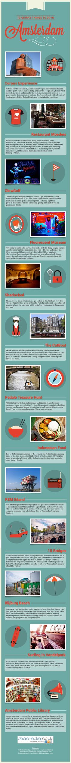 13 Quirky Things to do in Amsterdam #infographic #Travel #Amsterdam
