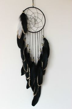 BLACK ELK gold glitter black feather Dream catcher with rainbow crystal in Home & Garden, Home Décor, Suncatchers & Mobiles | eBay