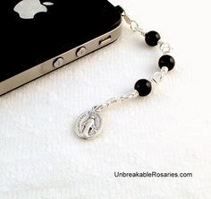 Cell Phone Charm Three Hail Mary Rosary Chaplet In Onyx Come Visit UnbreakableRosaries.com