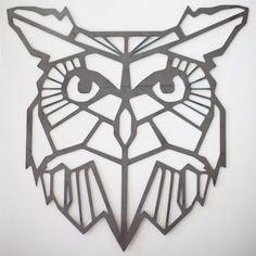 Steel Geometric Owl Wall Art by FactoryCustomFab on Etsy
