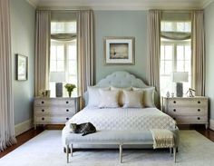 peaceful colors. love the wall color..blue,green,greyish. would go great with our bedding and headboard