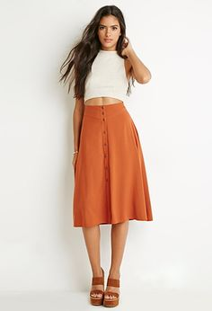 Button-Front A-Line Skirt | Forever 21 | #thelatest