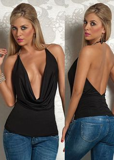 Sexy Halter Neck Backless Polyester T-shirt