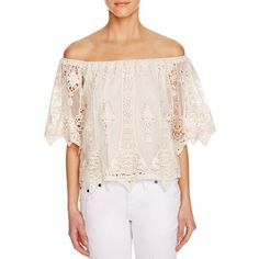 Jen's Pirate Booty Off-The-Shoulder Lace Top ($210) ❤ liked on Polyvore featuring tops, blouses, natural, off shoulder blouse, pink off shoulder top, lace blouse, pink blouse and off shoulder tops